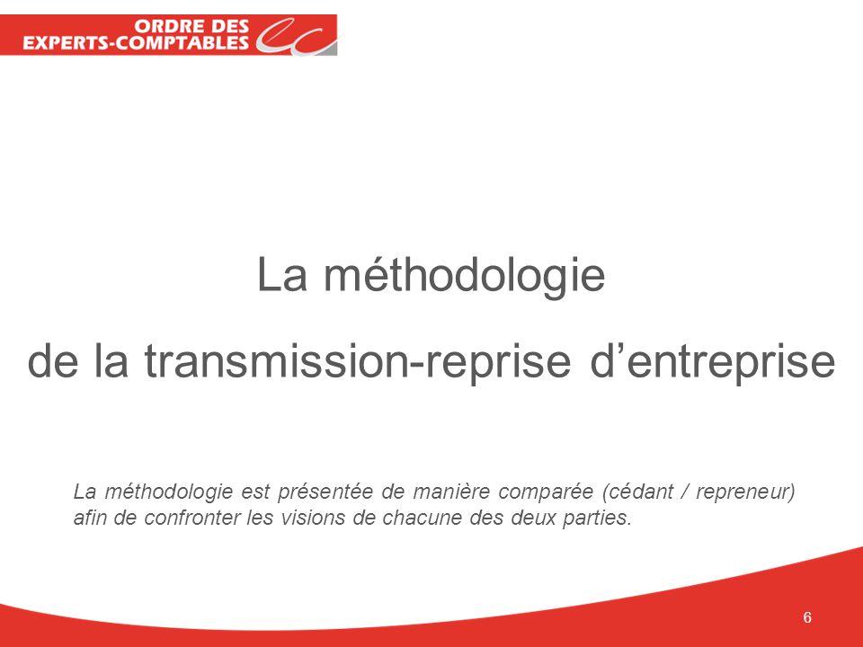 La méthodologie de la transmission-reprise dentreprise La méthodologie est présentée de manière comparée (cédant / repreneur) afin de confronter les v