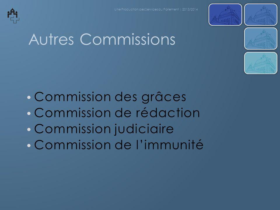 Autres Commissions Commission des grâces Commission de rédaction Commission judiciaire Commission de limmunité Une Production des Services du Parlemen