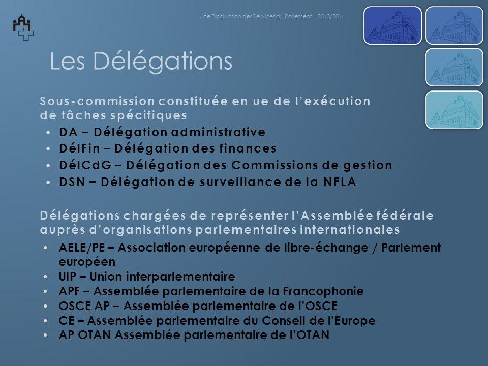 Les Délégations DA – Délégation administrative DélFin – Délégation des finances DélCdG – Délégation des Commissions de gestion DSN – Délégation de sur
