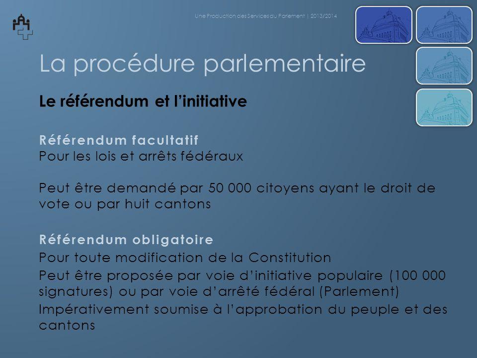 La procédure parlementaire Le référendum et linitiative Référendum facultatif Pour les lois et arrêts fédéraux Peut être demandé par 50 000 citoyens a