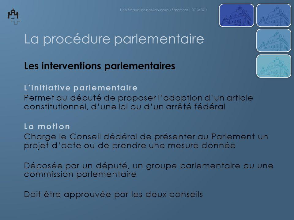 La procédure parlementaire Les interventions parlementaires Linitiative parlementaire Permet au député de proposer ladoption dun article constitutionn