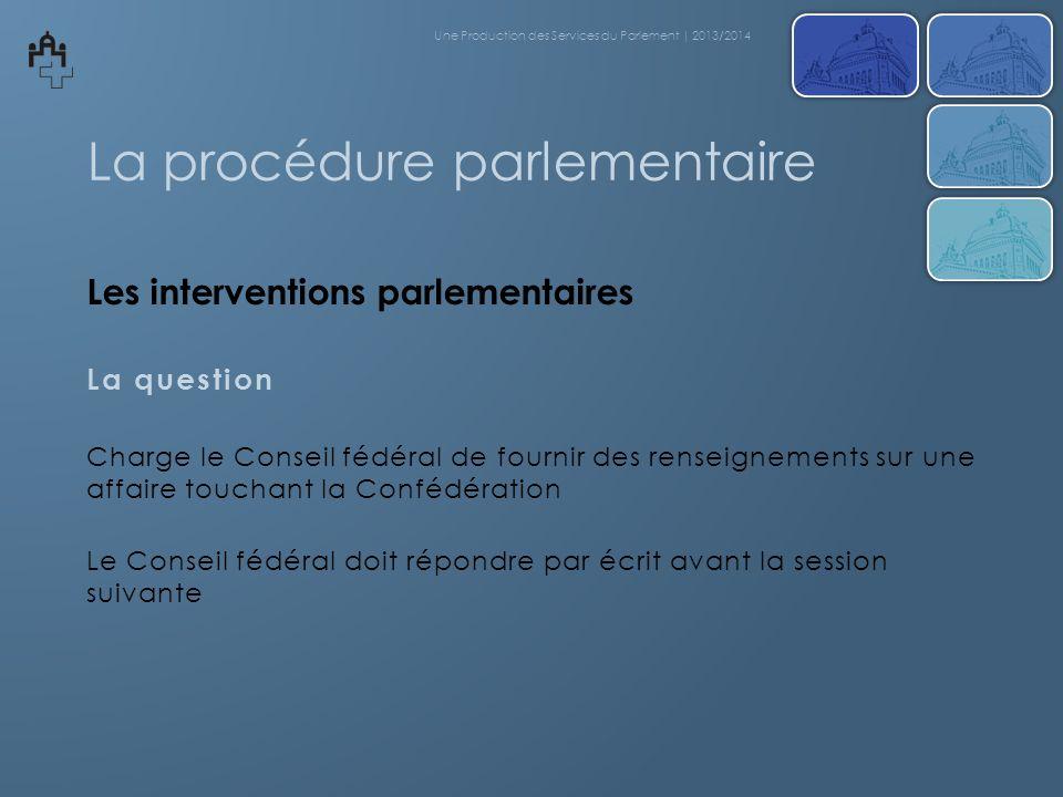 La procédure parlementaire Les interventions parlementaires La question Charge le Conseil fédéral de fournir des renseignements sur une affaire toucha