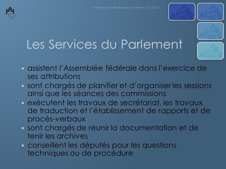 Les Services du Parlement assistent lAssemblée fédérale dans lexercice de ses attributions sont chargés de planifier et dorganiser les sessions ainsi