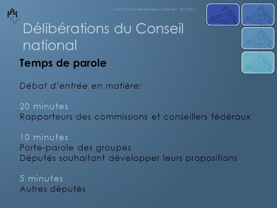 Délibérations du Conseil national Temps de parole Débat dentrée en matière: 20 minutes Rapporteurs des commissions et conseillers fédéraux 10 minutes
