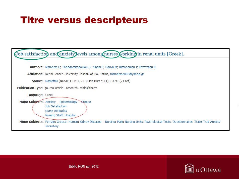 Titre versus descripteurs Biblio RGN jan 2012