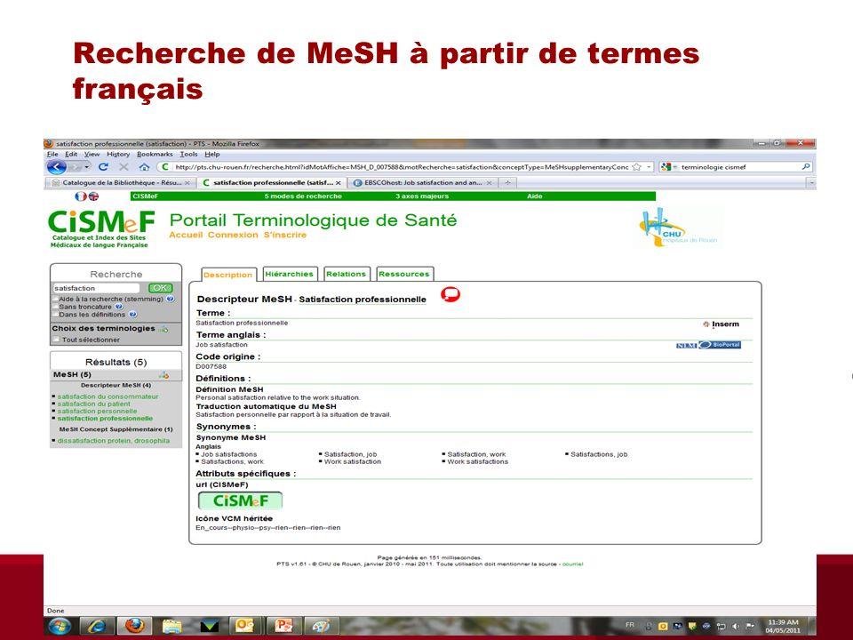Recherche de MeSH à partir de termes français Biblio RGN jan 2012