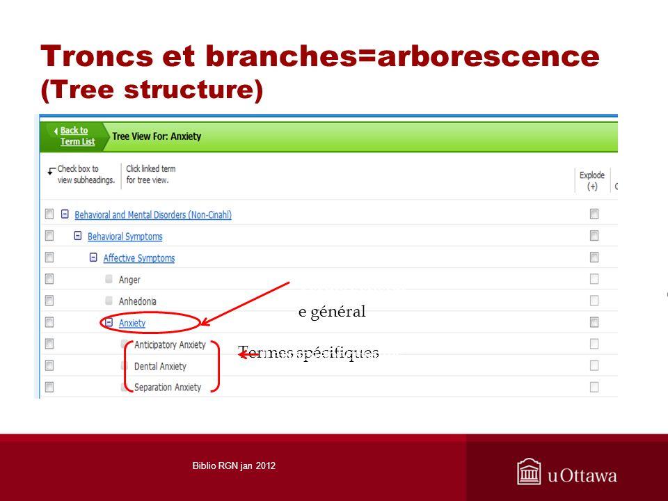 Troncs et branches=arborescence (Tree structure) Termes spécifiques e général Terme général Termes spécifiques Biblio RGN jan 2012