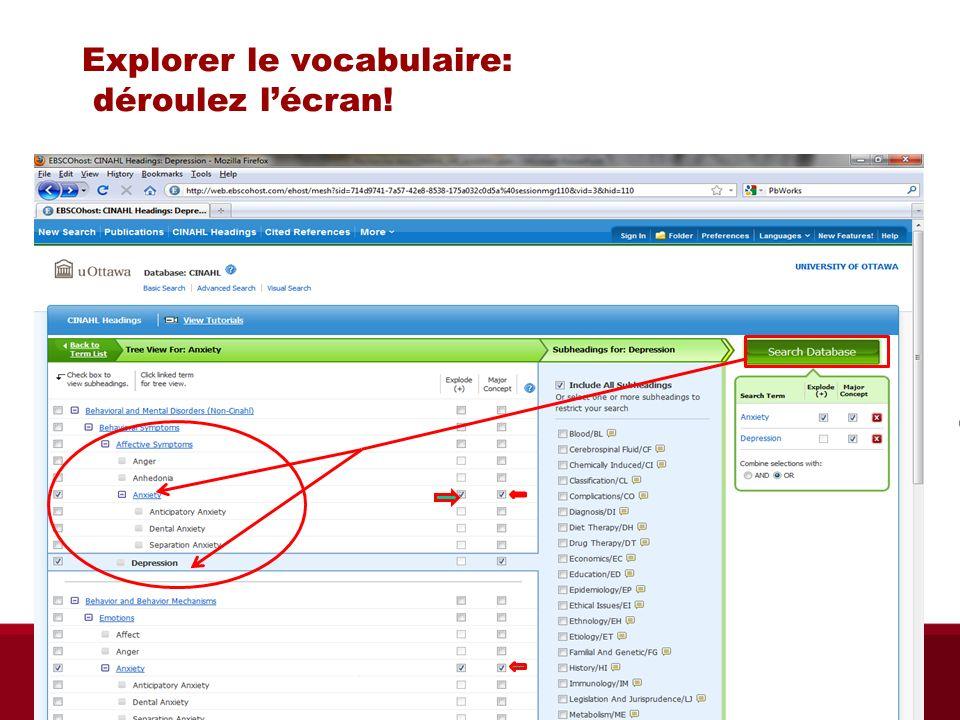 Explorer le vocabulaire: déroulez lécran! Biblio RGN jan 2012