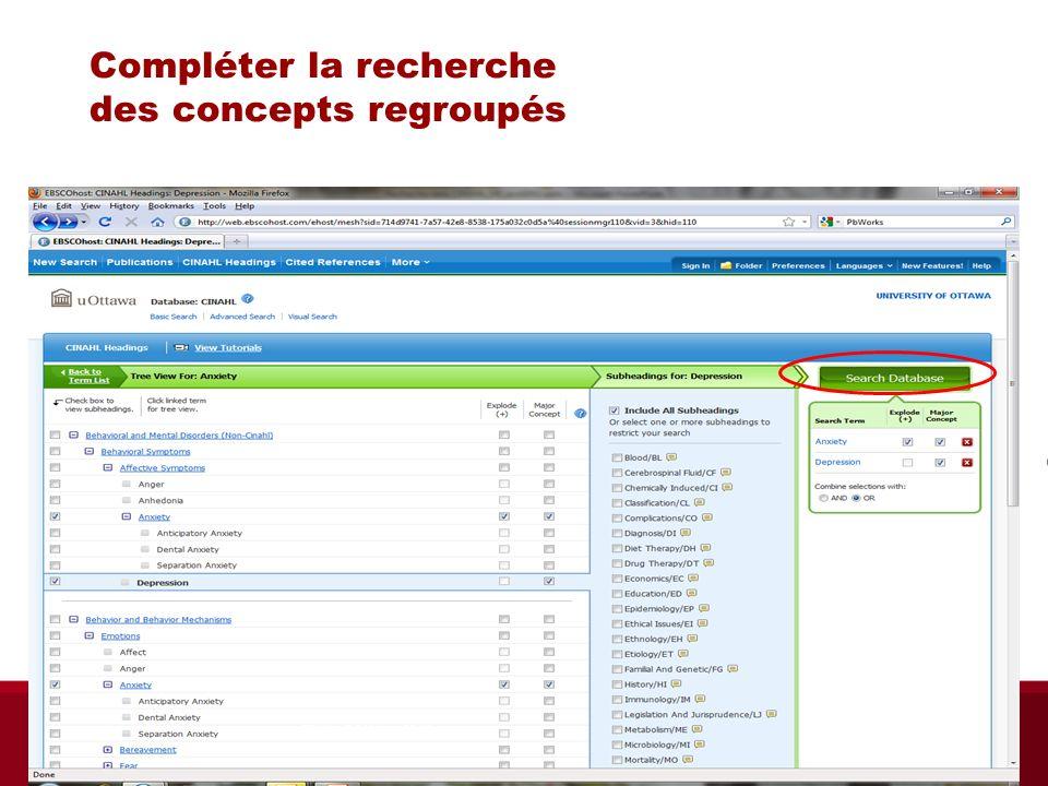 Compléter la recherche des concepts regroupés Pour que le terme représente le sujet principal Sous catégories – si nécessaire Biblio RGN jan 2012