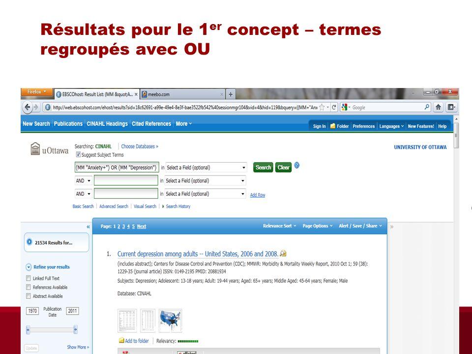 Résultats pour le 1 er concept – termes regroupés avec OU Biblio RGN jan 2012