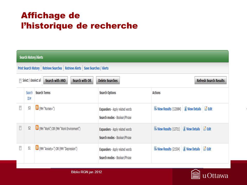 Affichage de lhistorique de recherche Biblio RGN jan 2012