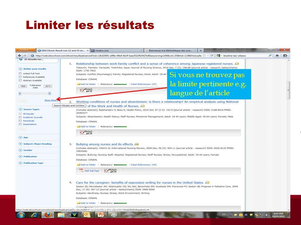 Limiter les résultats Si vous ne trouvez pas la limite pertinente e.g. langue de larticle Biblio RGN jan 2012