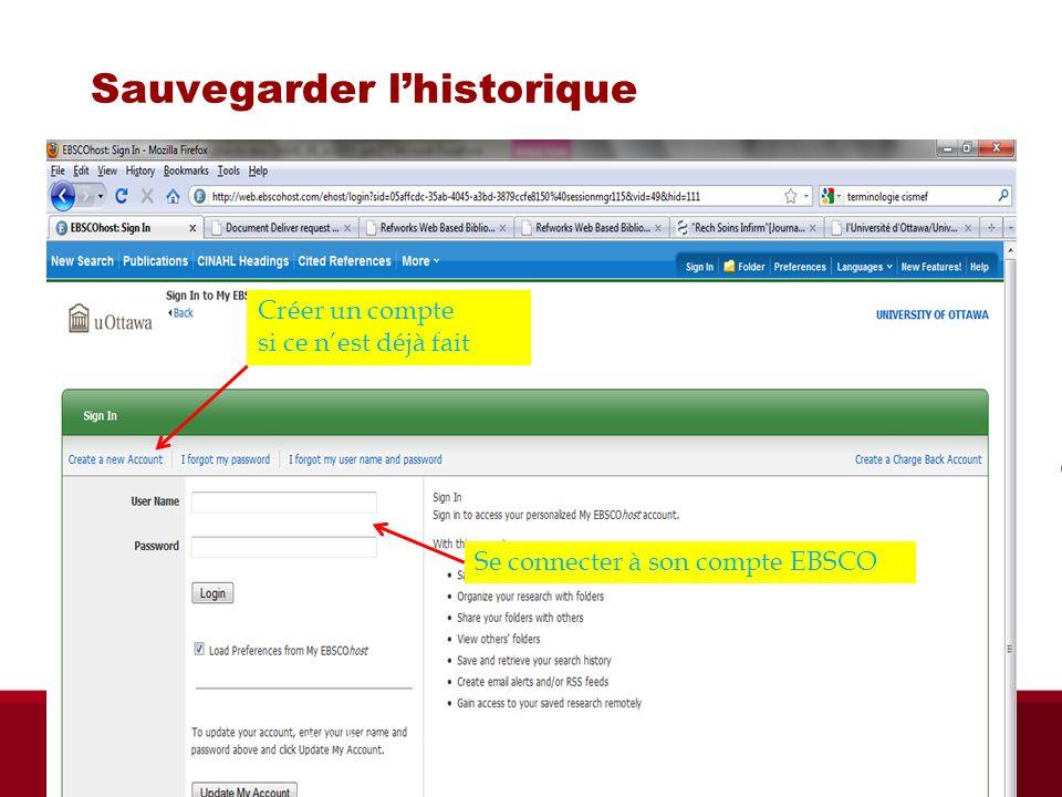 Sauvegarder lhistorique Créer un compte si ce nest déjà fait Se connecter à son compte EBSCO Biblio RGN jan 2012