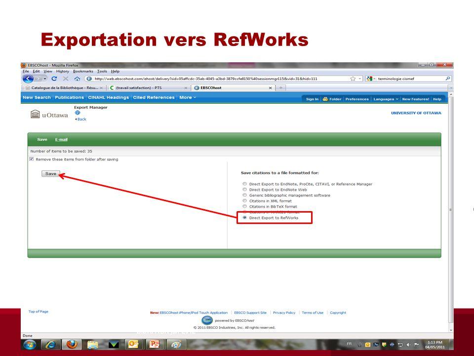 Exportation vers RefWorks Biblio RGN jan 2012
