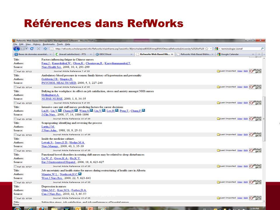 Références dans RefWorks Biblio RGN jan 2012