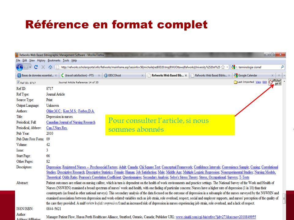 Référence en format complet Pour consulter larticle, si nous sommes abonnés Biblio RGN jan 2012