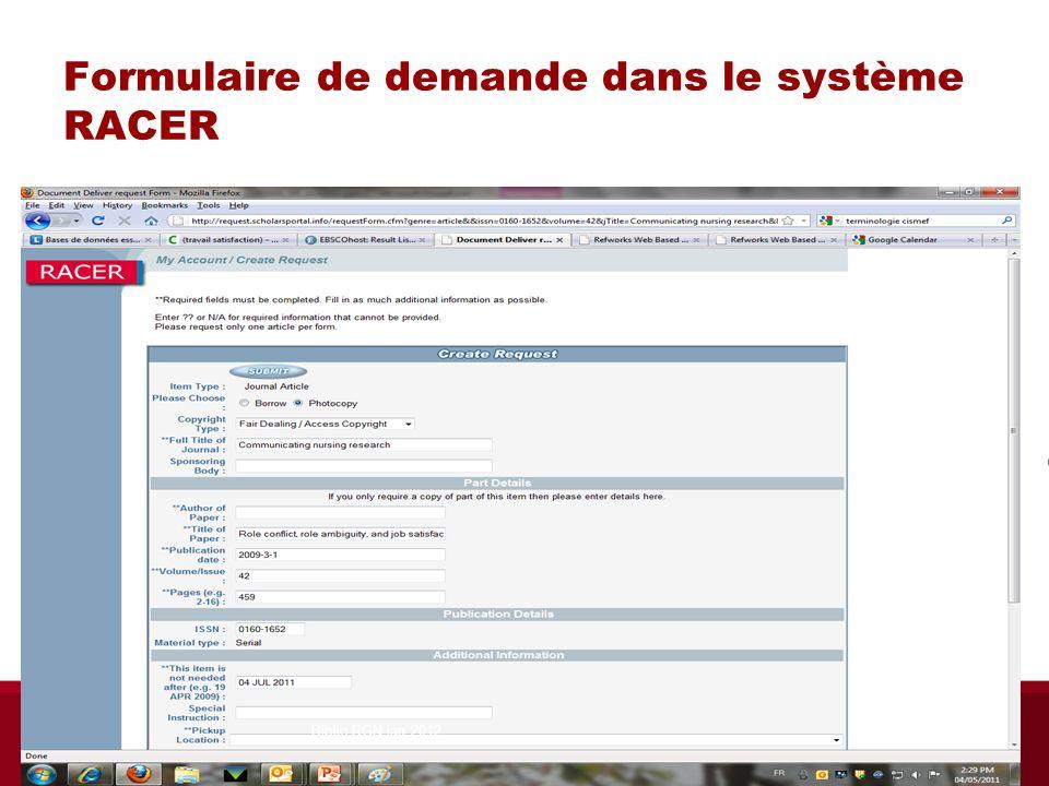 Formulaire de demande dans le système RACER Biblio RGN jan 2012