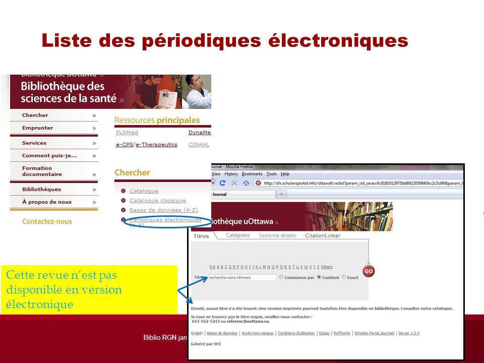 Liste des périodiques électroniques Cette revue nest pas disponible en version électronique Biblio RGN jan 2012