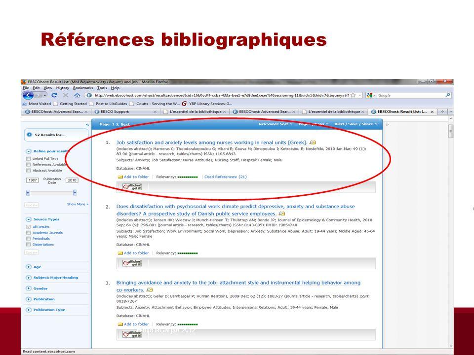Accès à CINAHL Ressources principales à notre page daccueilpage daccueil Liste A-Z des bases de données, C, CINAHLListe A-Z des bases de données Libguides (sciences infirmières, PHT, Ergo, Audio/Ortho), page Trouver des articlesTrouver des articles Biblio RGN jan 2012