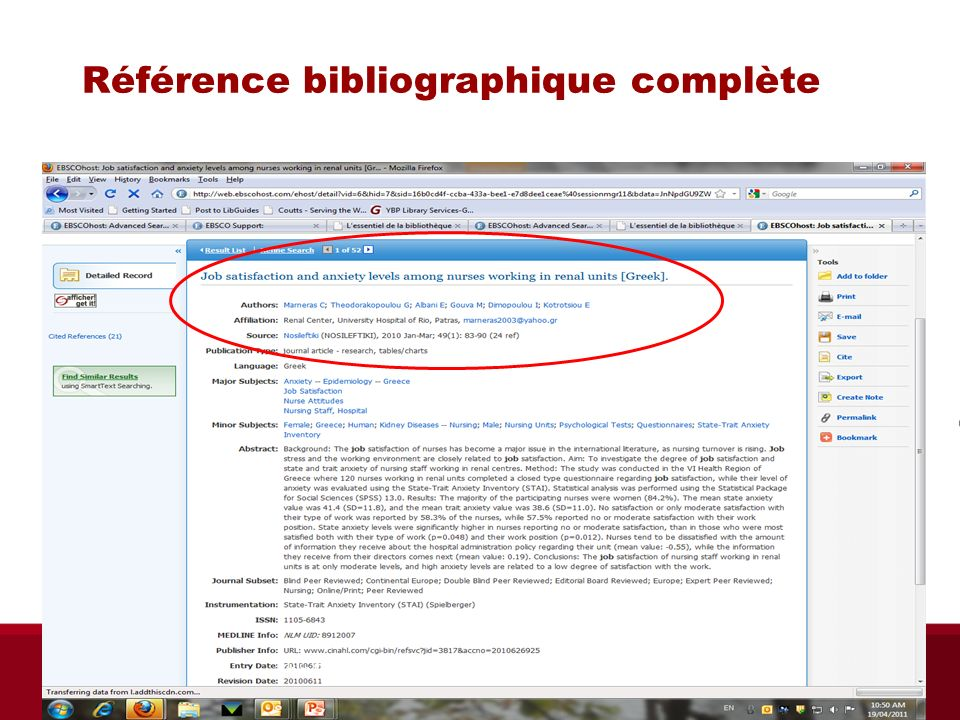 Référence bibliographique complète Biblio RGN jan 2012