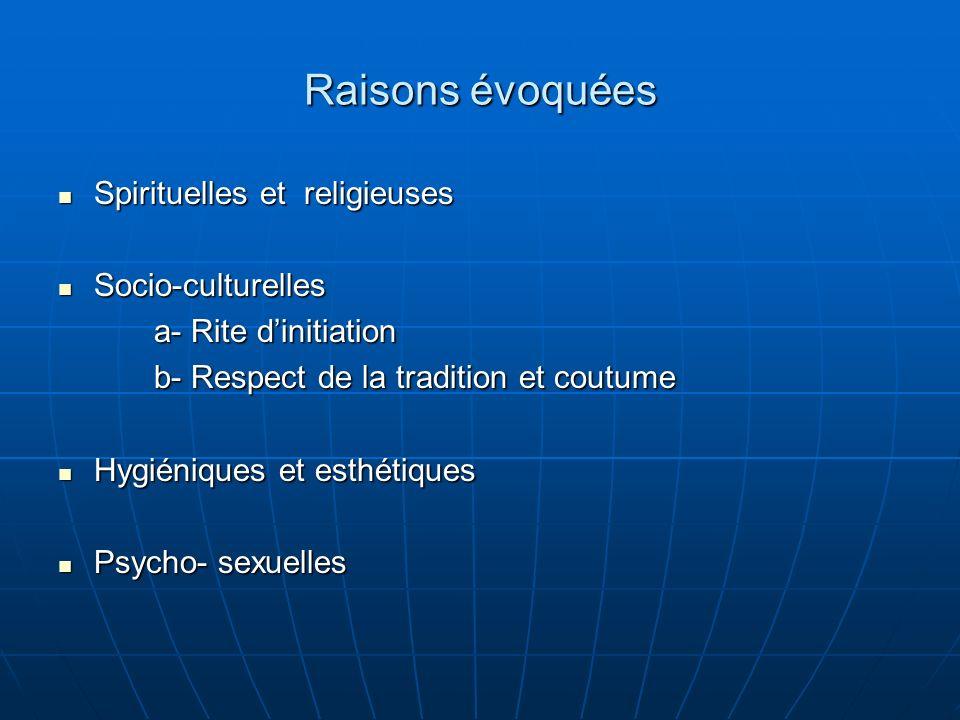 Raisons évoquées Spirituelles et religieuses Spirituelles et religieuses Socio-culturelles Socio-culturelles a- Rite dinitiation b- Respect de la tradition et coutume Hygiéniques et esthétiques Hygiéniques et esthétiques Psycho- sexuelles Psycho- sexuelles