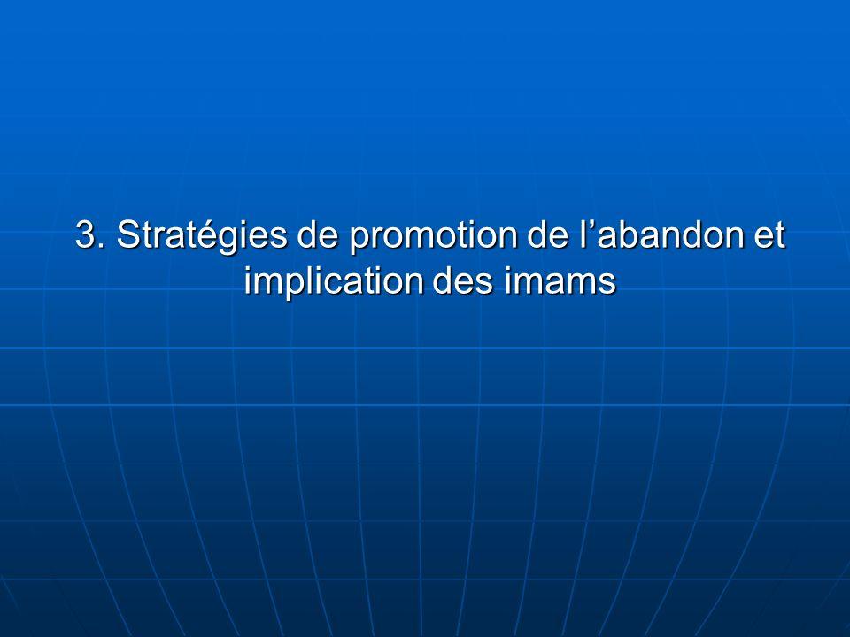3. Stratégies de promotion de labandon et implication des imams