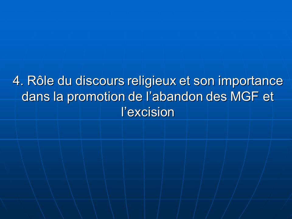 4. Rôle du discours religieux et son importance dans la promotion de labandon des MGF et lexcision