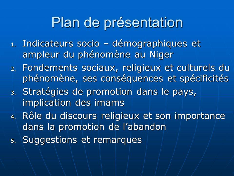 Plan de présentation 1. Indicateurs socio – démographiques et ampleur du phénomène au Niger 2.