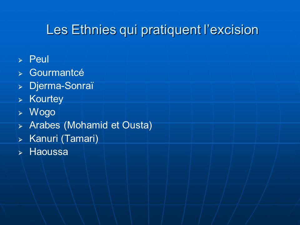 Les Ethnies qui pratiquent lexcision Peul Gourmantcé Djerma-Sonraï Kourtey Wogo Arabes (Mohamid et Ousta) Kanuri (Tamari) Haoussa