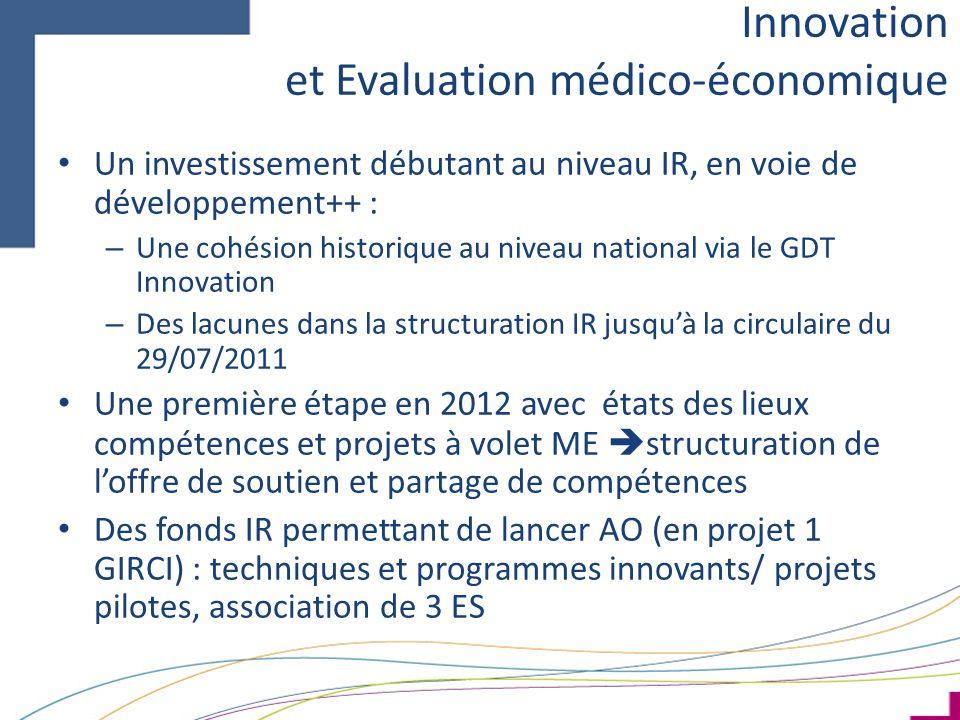 Un investissement débutant au niveau IR, en voie de développement++ : – Une cohésion historique au niveau national via le GDT Innovation – Des lacunes