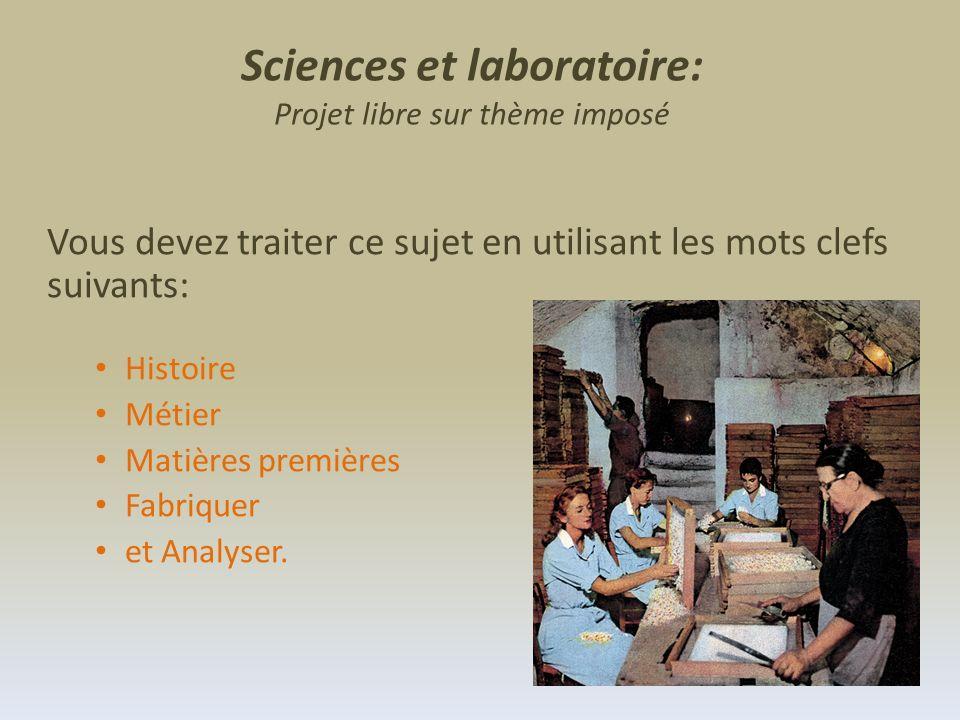 Vous devez traiter ce sujet en utilisant les mots clefs suivants: Histoire Métier Matières premières Fabriquer et Analyser. Sciences et laboratoire: P