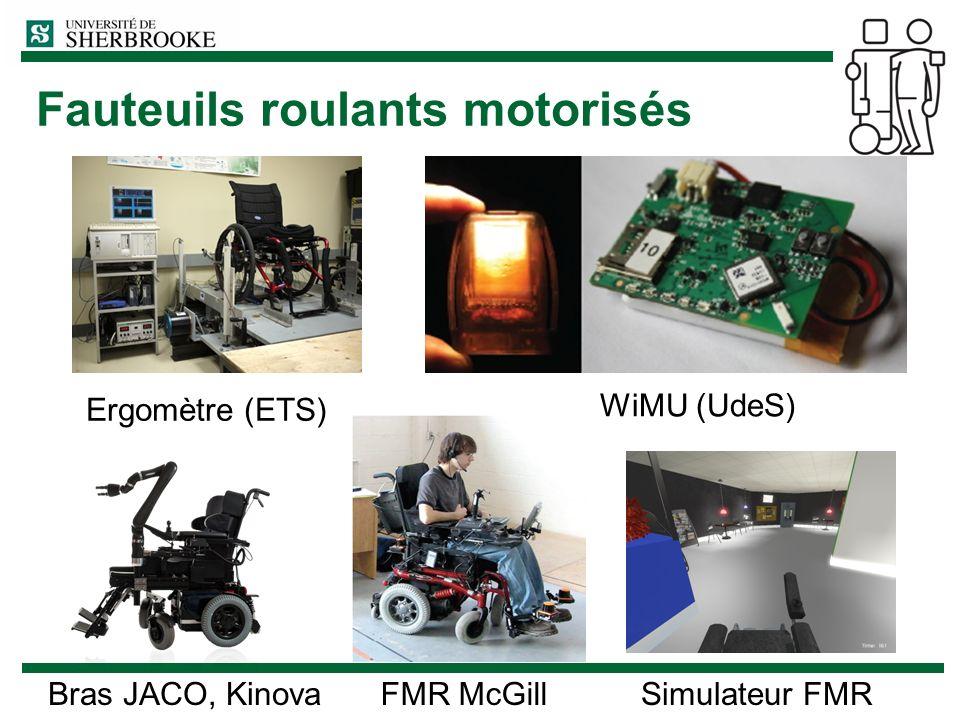 Fauteuils roulants motorisés FMR McGill WiMU (UdeS) Simulateur FMRBras JACO, Kinova Ergomètre (ETS)