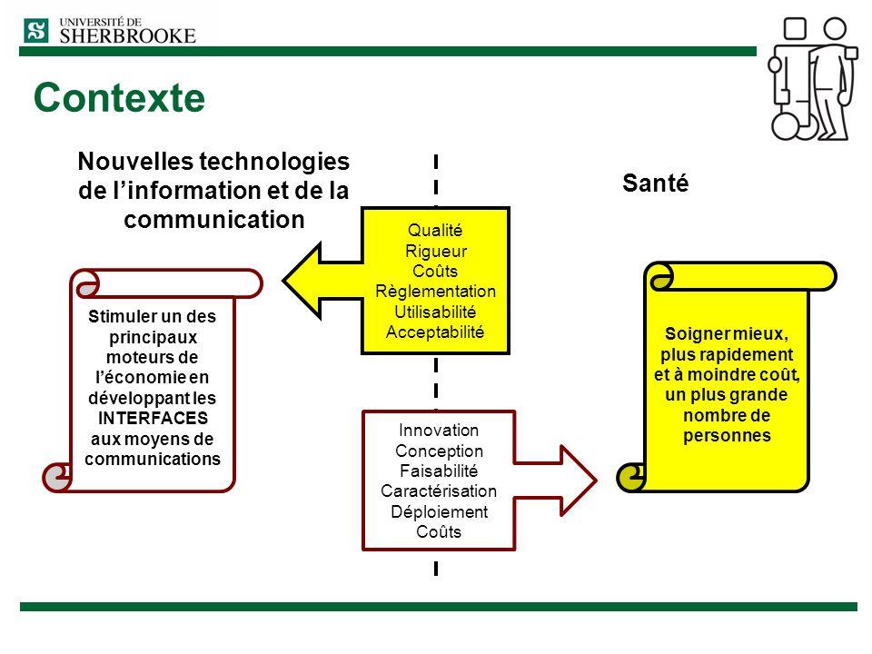 Contexte Nouvelles technologies de linformation et de la communication Santé Qualité Rigueur Coûts Règlementation Utilisabilité Acceptabilité Innovati