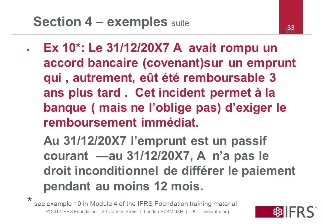 © 2012 IFRS Foundation 30 Cannon Street | London EC4M 6XH | UK | www.ifrs.org 33 Section 4 – exemples suite Ex 10*: Le 31/12/20X7 A avait rompu un acc