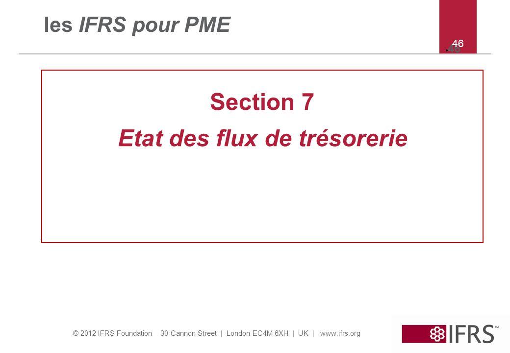 © 2012 IFRS Foundation 30 Cannon Street   London EC4M 6XH   UK   www.ifrs.org 46 les IFRS pour PME Section 7 Etat des flux de trésorerie