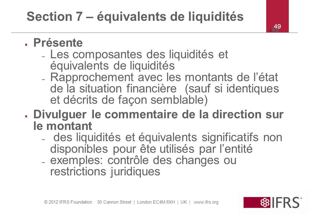 © 2012 IFRS Foundation 30 Cannon Street   London EC4M 6XH   UK   www.ifrs.org 49 Présente – Les composantes des liquidités et équivalents de liquidité