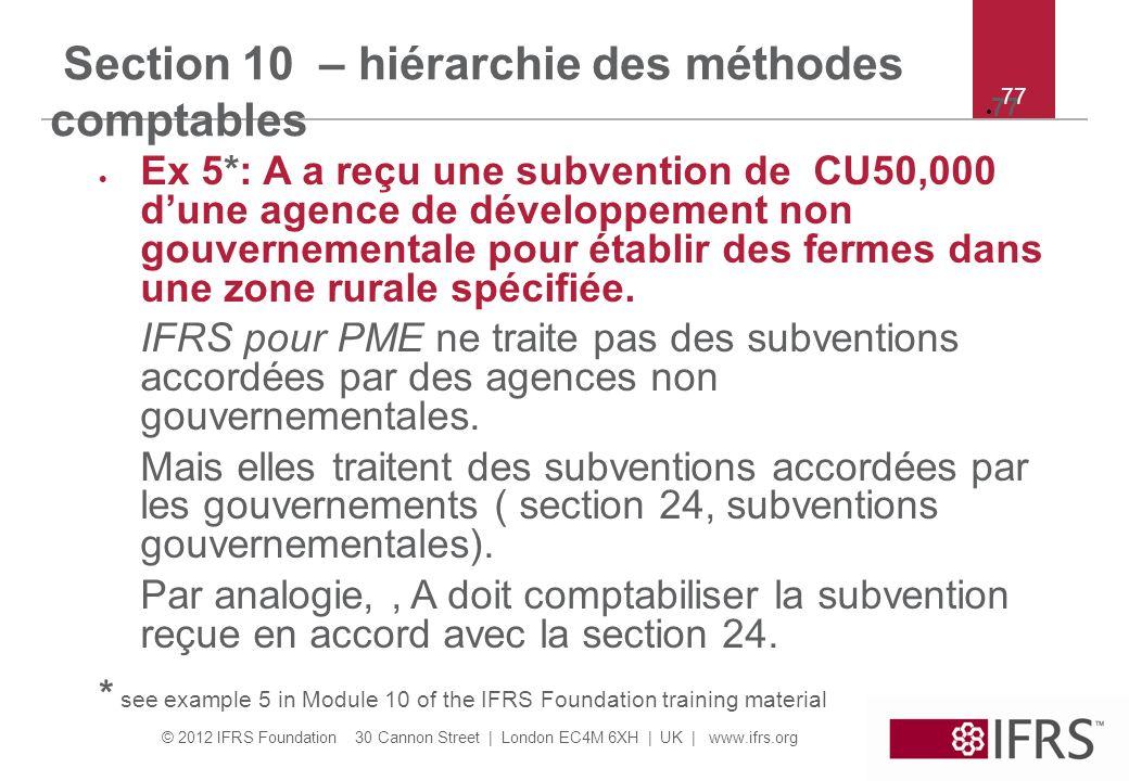 © 2012 IFRS Foundation 30 Cannon Street   London EC4M 6XH   UK   www.ifrs.org 77 Section 10 – hiérarchie des méthodes comptables Ex 5*: A a reçu une s