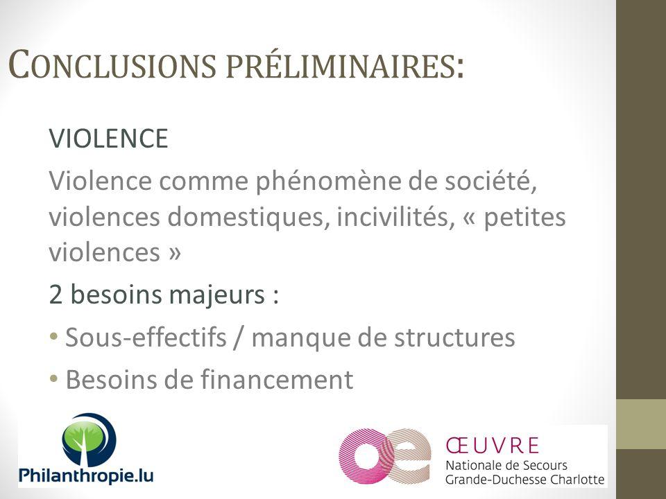 VIOLENCE Violence comme phénomène de société, violences domestiques, incivilités, « petites violences » 2 besoins majeurs : Sous-effectifs / manque de structures Besoins de financement C ONCLUSIONS PRÉLIMINAIRES :