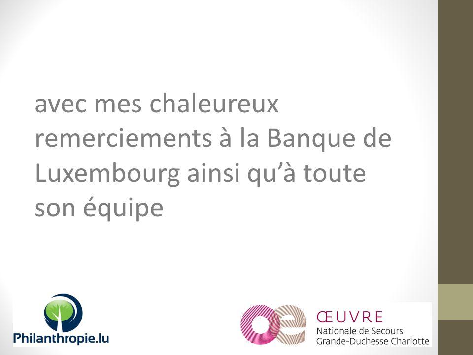 avec mes chaleureux remerciements à la Banque de Luxembourg ainsi quà toute son équipe