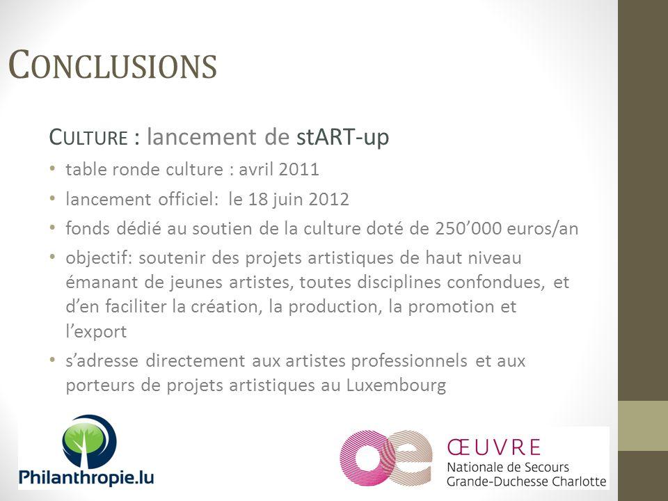 C ULTURE : lancement de stART-up table ronde culture : avril 2011 lancement officiel: le 18 juin 2012 fonds dédié au soutien de la culture doté de 250