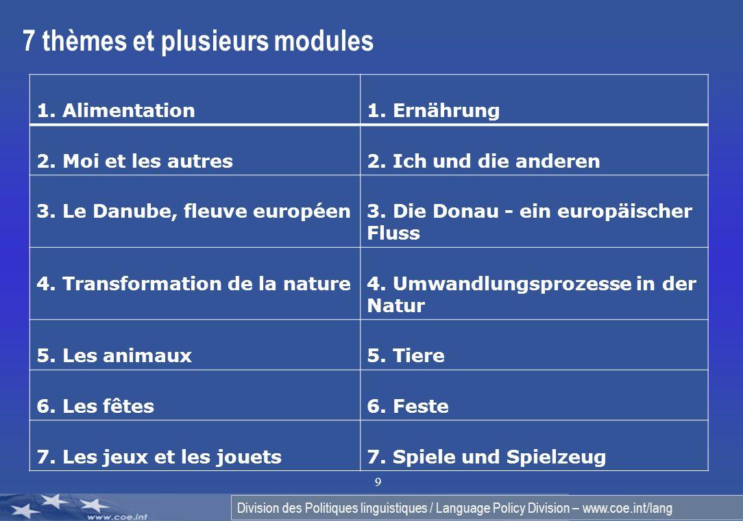 Division des Politiques linguistiques / Language Policy Division – www.coe.int/lang 9 7 thèmes et plusieurs modules 1. Alimentation 1. Ernährung 2. Mo