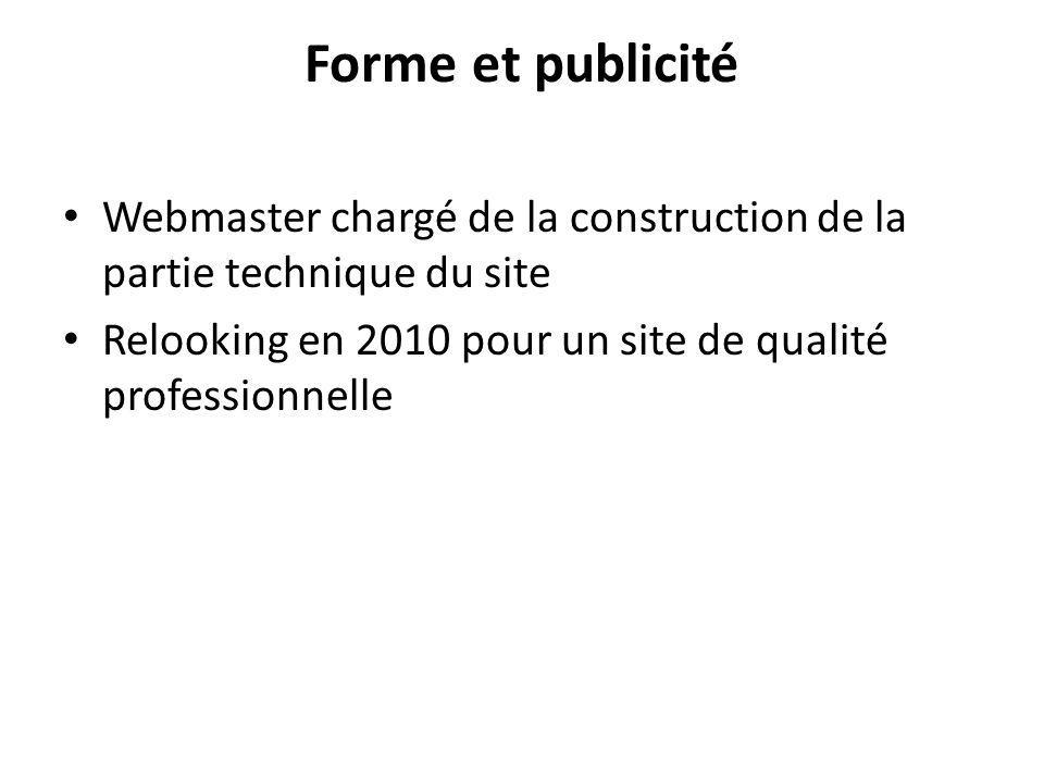 Forme et publicité Webmaster chargé de la construction de la partie technique du site Relooking en 2010 pour un site de qualité professionnelle