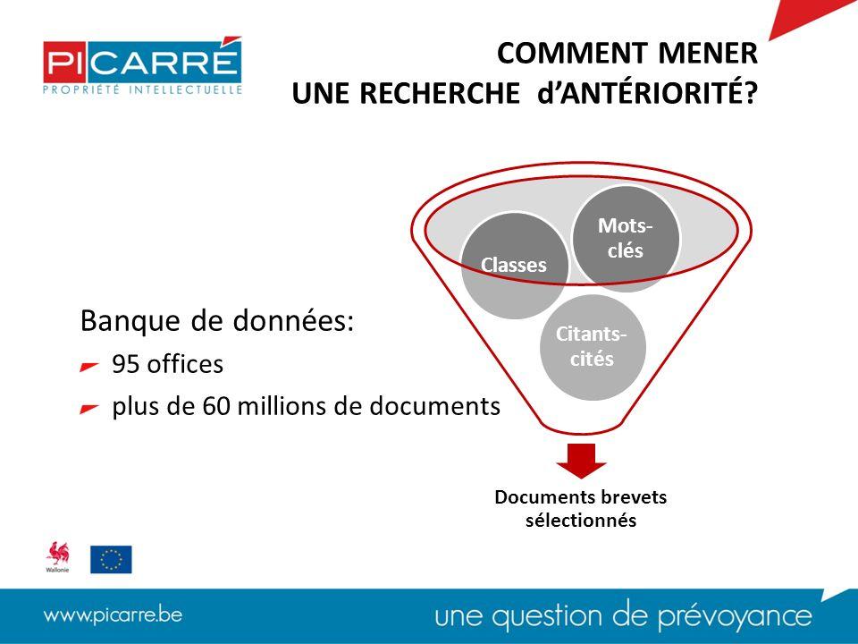 Banque de données: 95 offices plus de 60 millions de documents COMMENT MENER UNE RECHERCHE dANTÉRIORITÉ.
