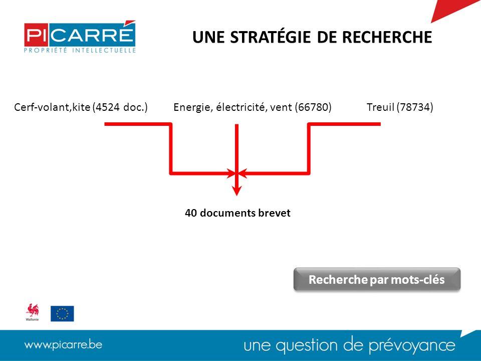 Cerf-volant,kite (4524 doc.)Energie, électricité, vent (66780)Treuil (78734) 40 documents brevet UNE STRATÉGIE DE RECHERCHE Recherche par mots-clés