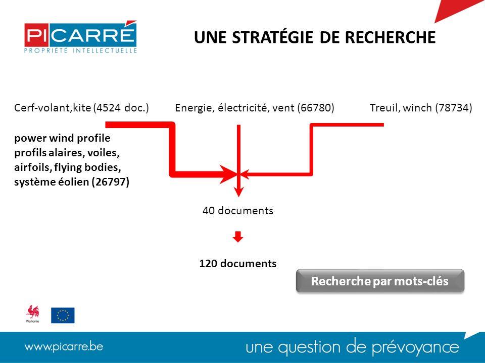 Cerf-volant,kiteEnergie, électricité, ventTreuil, winch A63H Jouet, Cerf-volant (2180) B63B Structures flottantes adaptées à des fins spéciales (35667) B63H Appareils propulsifs actionnés par le vent (6252) B66D treuils (8275) UNE STRATÉGIE DE RECHERCHE F03D Moteurs à vent (1814) Recherche par classes