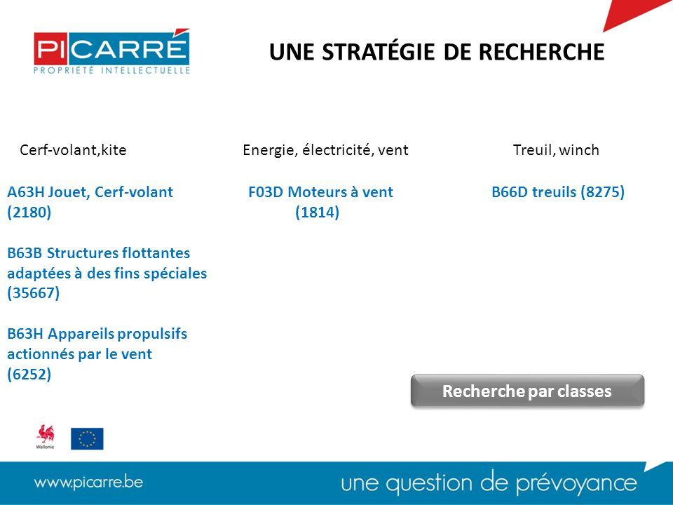 F03D (moteur) A63H (cerf-volant) B63B (structure flottante) B63H (appareil propulsif) B66D (treuil) 45 documents UNE STRATÉGIE DE RECHERCHE Recherche par classes