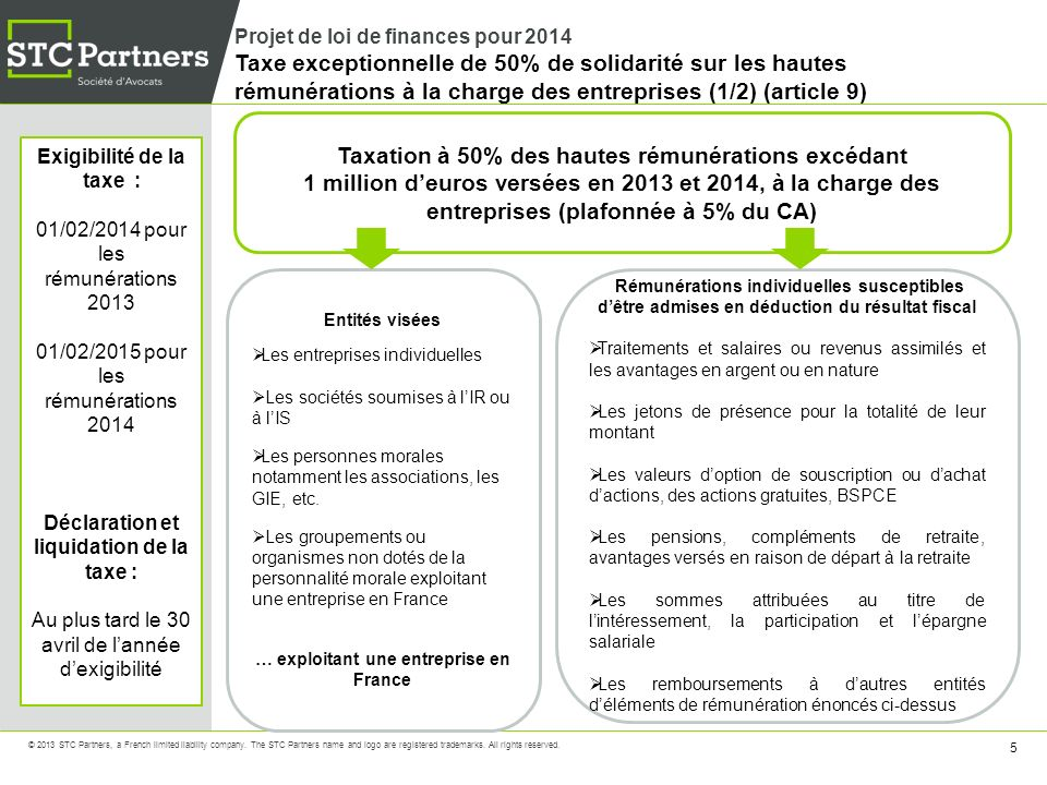 36 © 2013 STC Partners, a French limited liability company.