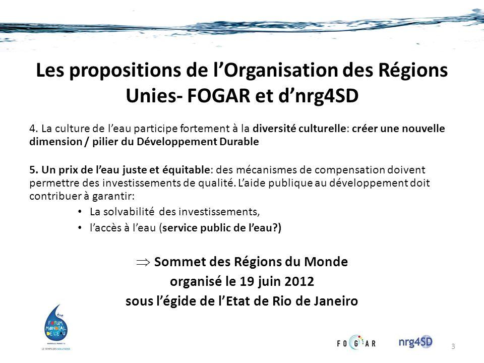 Les propositions de lOrganisation des Régions Unies- FOGAR et dnrg4SD 4. La culture de leau participe fortement à la diversité culturelle: créer une n