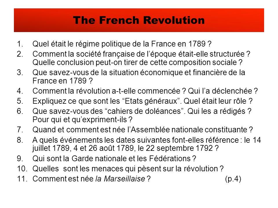 1.Quel était le régime politique de la France en 1789 .