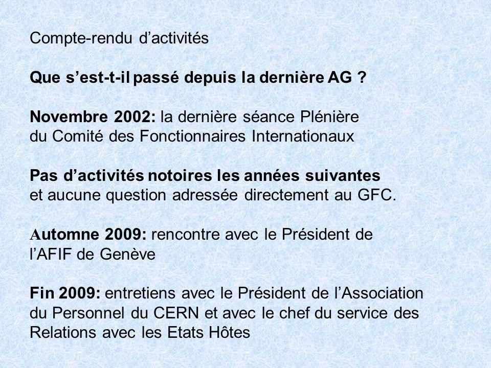 Actions futures: Réactualiser les Statuts Faire connaître / rappeler lexistence du GFC en créant un site sur Internet Renouer des relations plus étroites et plus suivies avec - les représentants français aux Comités du CERN - la Mission Française à Genève - la Mission des Fonctionnaires Internationaux à Paris - les autres AFIF